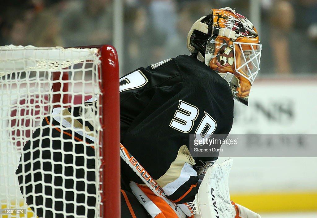 Goalie Viktor Fasth #30 of the Anaheim Ducks waits for play against the Nashville Predators at Honda Center on February 27, 2013 in Anaheim, California. The Ducks won 5-1.