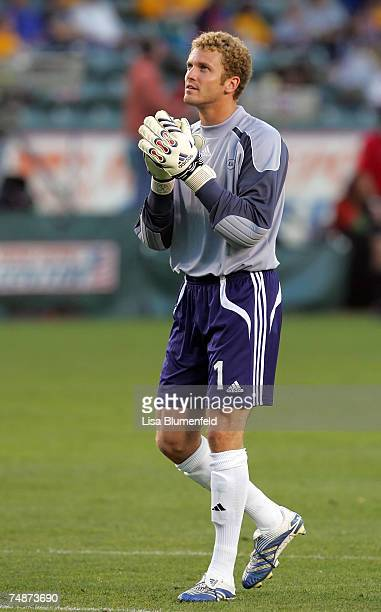 Goalie Will Hesmer of the Columbus Crew celebrates after a goal in the first half against the Los Angeles Galaxy at Home Depot Center on June 23 2007...