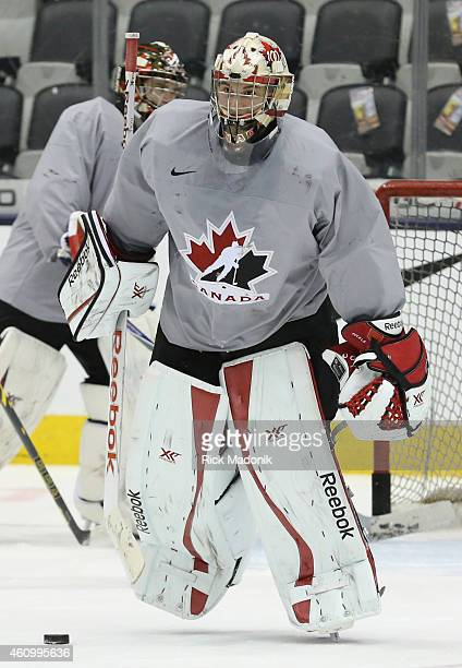 TORONTO JANUARY 3 Goalie Zachary Fucale leaves the net and Eric Comrie takes his place Team Canada practice at the Air Canada Centre on January 3...