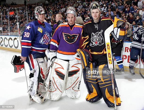 Goalies Ryan Miller of the Rochester Americans Antero Niittymaki of the Philadelphia Phantoms and Kari Lehtonen of the Chicago Wolves pose for a...