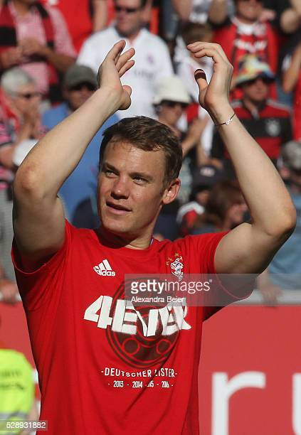 Goalkeeeper Manuel Neuer of Bayern Muenchen celebrates his German Championship title after the Bundesliga match between FC Bayern Muenchen and FC...
