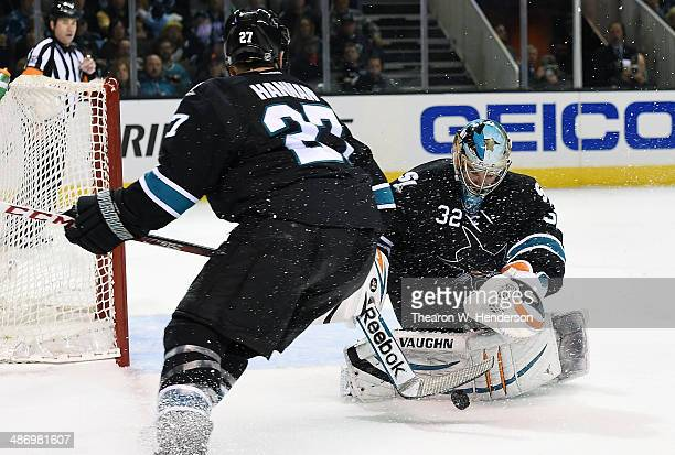 Goalkeeker Alex Stalock of the San Jose Sharks makes a save with his stick against the Los Angeles Kings in the third period in Game Five of the...