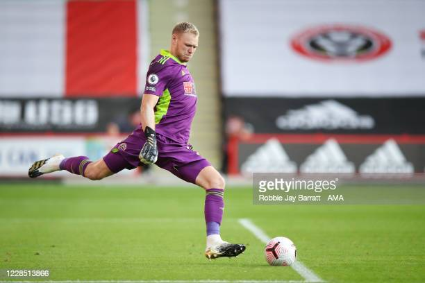Goalkeeper Aaron Ramsdale of Sheffield United during the Premier League match between Sheffield United and Wolverhampton Wanderers at Bramall Lane on...