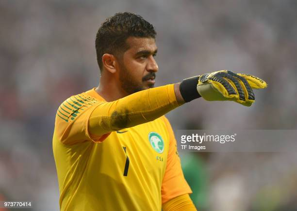Goalkeeper Abdullah AlMayouf of Saudi Arabia gestures during the international friendly match between Germany and Saudi Arabia at BayArena on June 8...