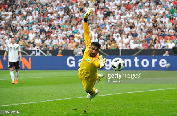 Goalkeeper Abdullah AlMayouf of Saudi Arabia tries to catch the ball during the international friendly match between Germany and Saudi Arabia at...