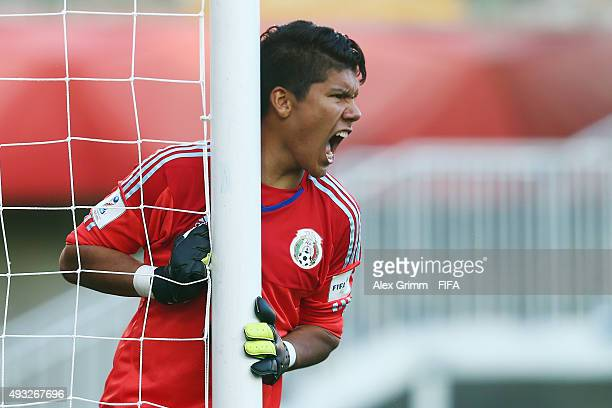 Goalkeeper Abraham Romero of Mexico reacts during the FIFA U17 World Cup Chile 2015 Group C match between Mexico and Argentina at Estadio Nelson...