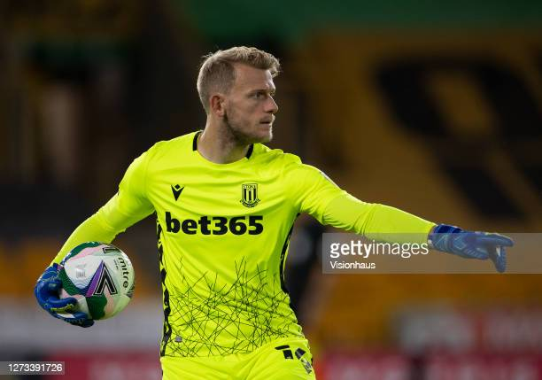 Goalkeeper Adam Davies of Stoke City during the Carabao Cup second round match between Wolverhampton Wanderers and Stoke City at Molineux on...
