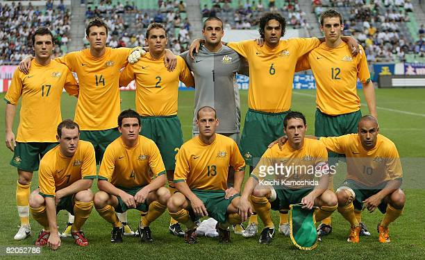 Goalkeeper Adam Federici captain Mark Milligan and Australian Olyroos team pose for a team photo before the kick off of the under 23 international...