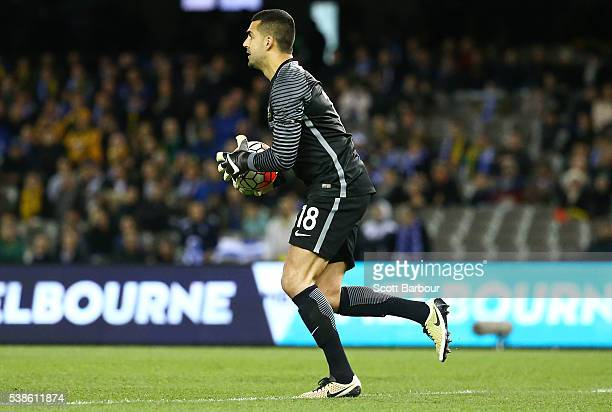 Goalkeeper Adam Federici of Australia controls the ball during the International Friendly match between the Australian Socceroos and Greece at Etihad...