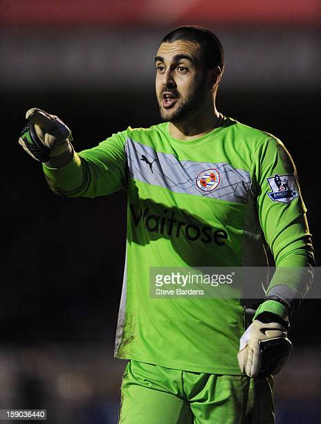 Goalkeeper Adam Federici of Reading gives instructions during the FA Cup with Budweiser Third Round match between Crawley Town and Reading at...