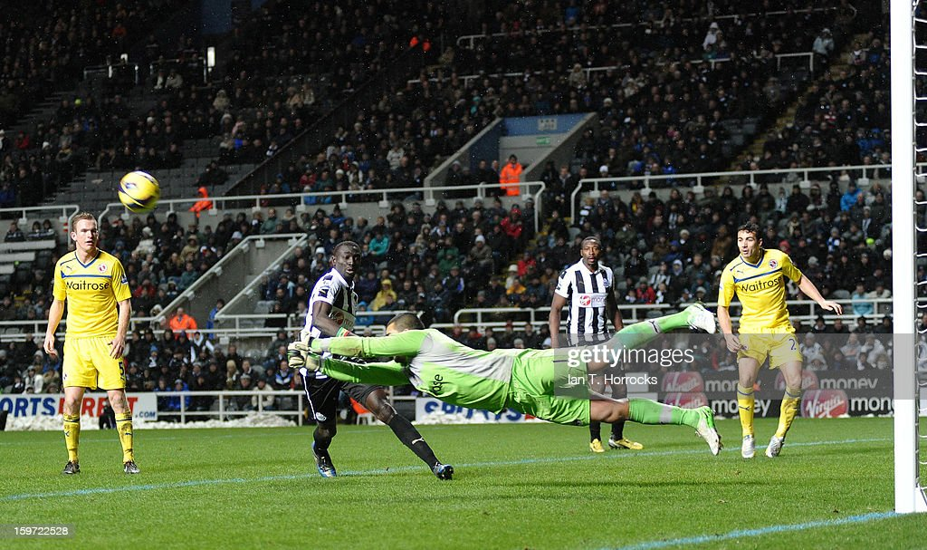 Goalkeeper Adam Federici (C) of Reading makes a save during the Barclays Premier League match between Newcastle United and Reading at St James' Park on January 19, 2013 in Newcastle upon Tyne, England.