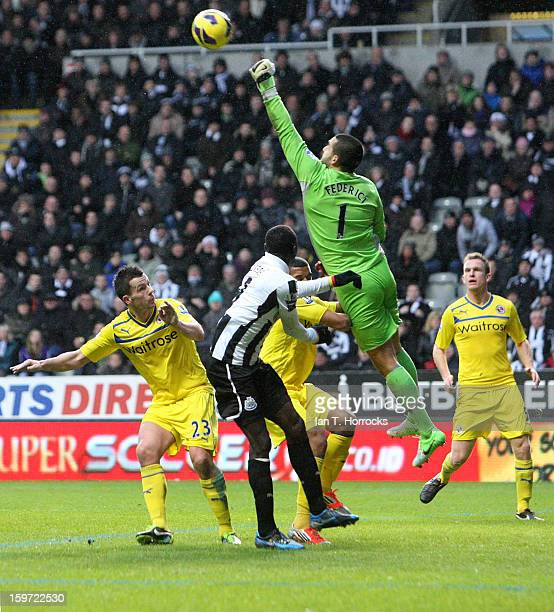 Goalkeeper Adam Federici of Reading makes a save during the Barclays Premier League match between Newcastle United and Reading at St James' Park on...
