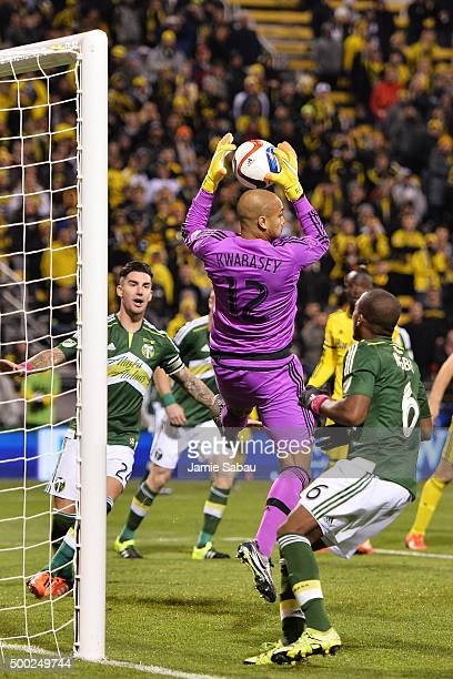 Goalkeeper Adam Kwarasey of the Portland Timbers makes a save on a shot in the second half against the Columbus Crew SC on December 6 2015 at MAPFRE...