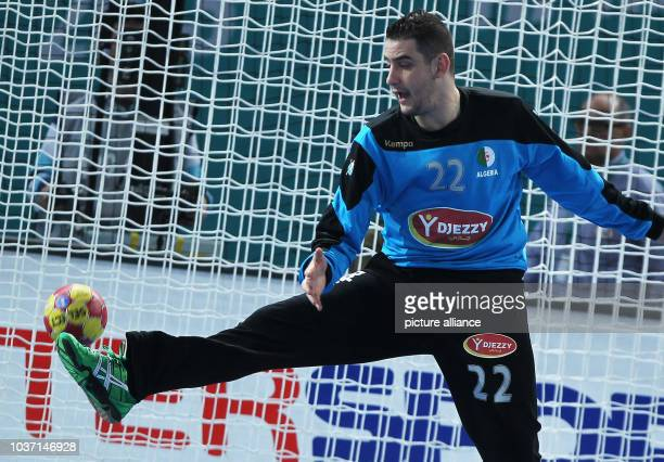 Goalkeeper Adel Bousmal of Algeria concedes a goal during the men's Handball World Championships main round match Spain vs Algeria in Madrid, Spain,...