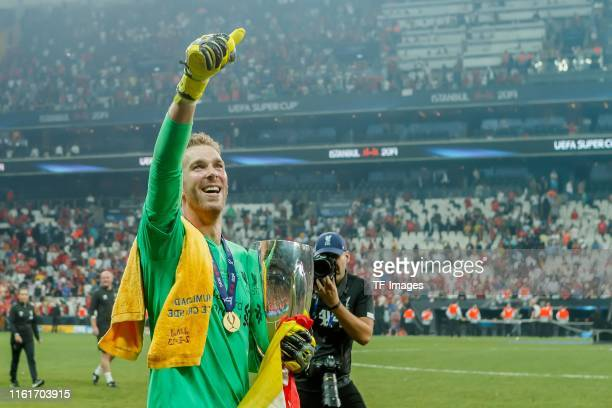 Goalkeeper Adrian of FC Liverpool celebrate after winning during the UEFA Super Cup match between FC Liverpool and FC Chelsea at Vodafone Park on...