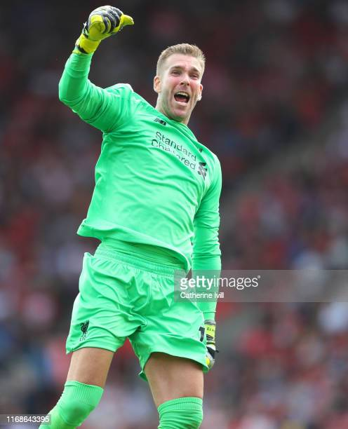 Goalkeeper Adrian of Liverpool celebrates during the Premier League match between Southampton FC and Liverpool FC at St Mary's Stadium on August 17...