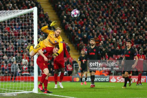 Goalkeeper Adrian of Liverpool saves from James Milner of Liverpool during extra time of the UEFA Champions League round of 16 second leg match...