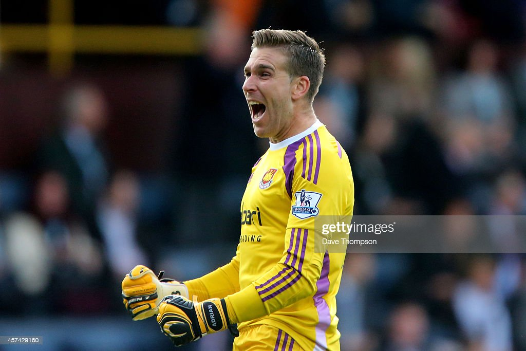 Goalkeeper Adrian of West Ham celebates as his team take a 1-0 lead during the Barclays Premier League match between Burnley and West Ham United at Turf Moor on October 18, 2014 in Burnley, England.