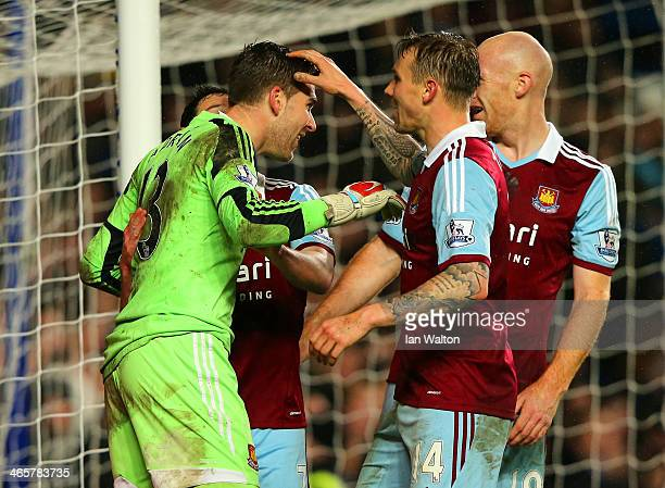 Goalkeeper Adrian of West Ham celebrates with team mated during the Barclays Premier League match between Chelsea and West Ham United at Stamford...