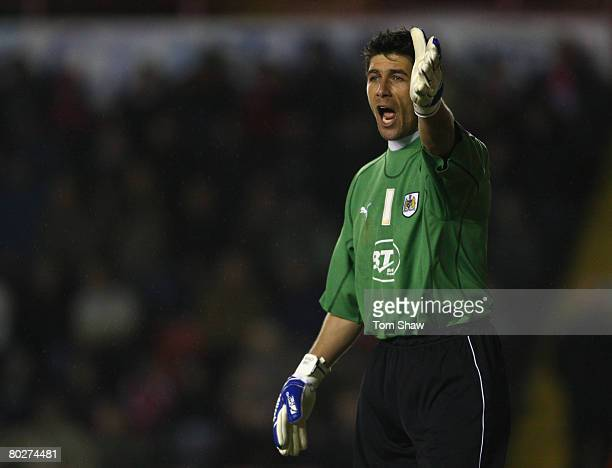 Goalkeeper Adriano Basso of Bristol during the Coca Cola Championship match between Bristol City and Watford at Ashton Gate on March 11 2008 in...