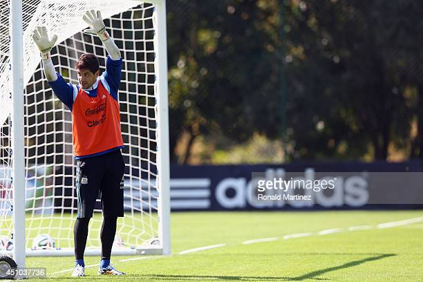 Goalkeeper Agustin Orion of Argentina during a training session at Cidade do Galo on June 22 2014 in Vespasiano Brazil