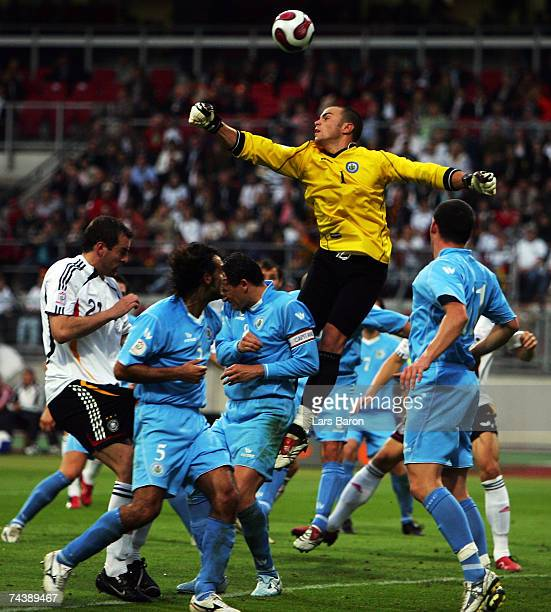 Goalkeeper Aldo Junior Simoncini of San Marino in action during the UEFA EURO 2008 qualifier between Germany and San Marino at the Easy Credit...