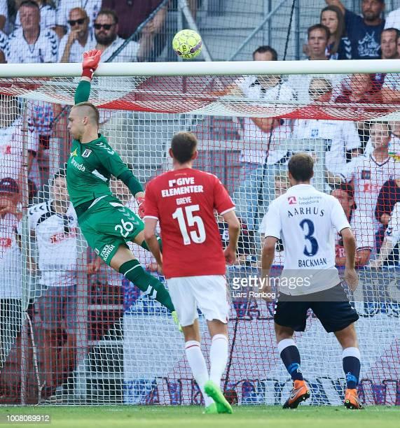 Goalkeeper Aleksandar Jovanovic of AGF Aarhus in action during the Danish Superliga match between Vejle Boldklub and AGF Aarhus at Vejle Stadion on...