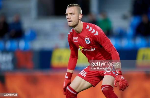 Goalkeeper Aleksandar Jovanovic of AGF Aarhus in action during the Danish Superliga match between Hobro IK and AGF Aarhus at DS Arena on August 24...