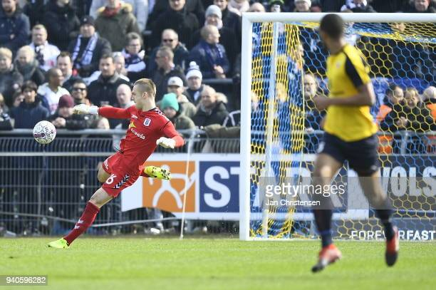 Goalkeeper Aleksandar Jovanovic of AGF Aarhus in action during the Danish Alka Superliga match between Hobro IK and AGF Aarhus at DS Arena on April 1...