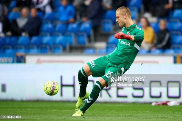 Goalkeeper Aleksandar Jovanovic of AGF Arhus in action during the Danish Superliga match between Randers FC and AGF Arhus at BioNutria Park Randers...