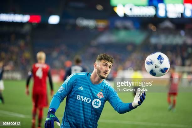 Goalkeeper Alex Bono of Toronto FC during the New England Revolution Vs Toronto FC regular season MLS game at Gillette Stadium on May 12 2018 in...