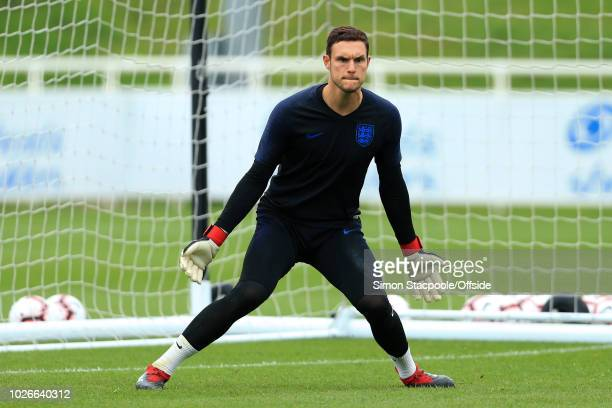 Goalkeeper Alex McCarthy in action during an England training session at St George's Park on September 4 2018 in BurtonuponTrent England