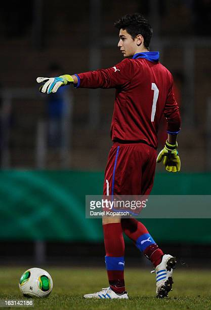 Goalkeeper Alex Meret of Italy signals during the U16 international friendly match between Germany and Italy on March 5 2013 at Waldstadion in...