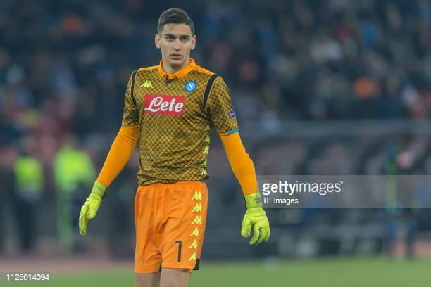 Goalkeeper Alex Meret of Napoli looks on during the UEFA Europa League Round of 32 First Leg match between FC Zurich and SSC Napoli at Letzigrund on...