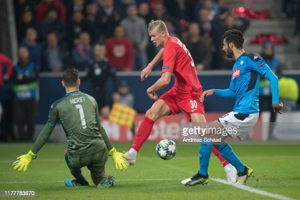 Goalkeeper Alex Meret SSC Napoli , Erling Haland of FC Salzburg and Sebastiano Luperto of SSC Napoli during the champions league group E match...