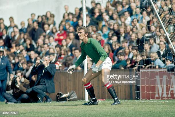 Goalkeeper Alex Stepney of Manchester United during a preseason friendly football match against Fulham at Craven Cottage London on 7th August 1971