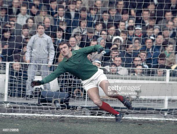 Goalkeeper Alex Stepney of Manchester United in action at Wembley Stadium in London on 7th March 1970