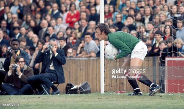 Goalkeeper Alex Stepney of Manchester United with the ball during their preseason Friendly match against Fulham FC at Craven Cottage on 7th August...