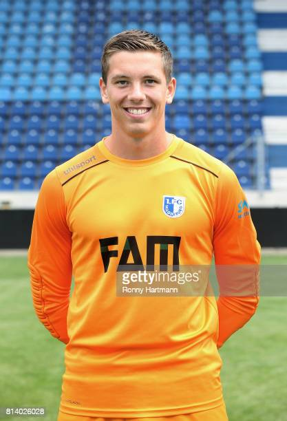 Goalkeeper Alexander Brunst poses during the team presentation of 1 FC Magdeburg at MDCCArena on July 13 2017 in Magdeburg Germany