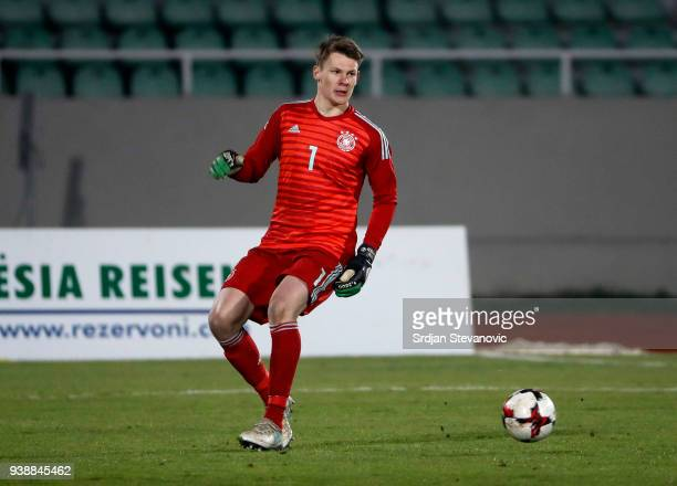 Goalkeeper Alexander Nubel of Germany in action during the 2019 UEFA Under21 European Championship qualifier match between Kosovo U21 and Germany U21...