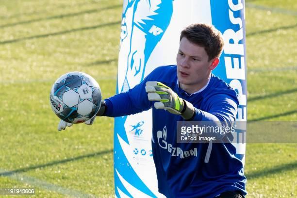 goalkeeper Alexander Nuebel of FC Schalke 04 controls the ball during the FC Schalke 04 winter training camp on January 5 2020 in Fuente Alamo near...