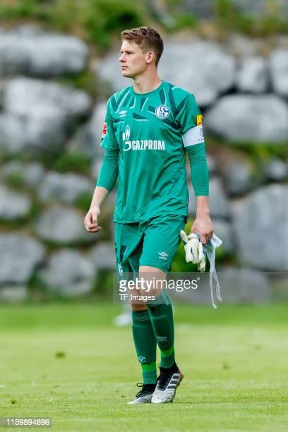 Goalkeeper Alexander Nuebel of FC Schalke 04 looks on during the pre-season friendly match between Schalke 04 and FC Villarreal at Saalfelden Arena...