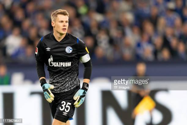 goalkeeper Alexander Nuebel of FC Schalke 04 looks on during the Bundesliga match between FC Schalke 04 and 1 FSV Mainz 05 at VeltinsArena on...
