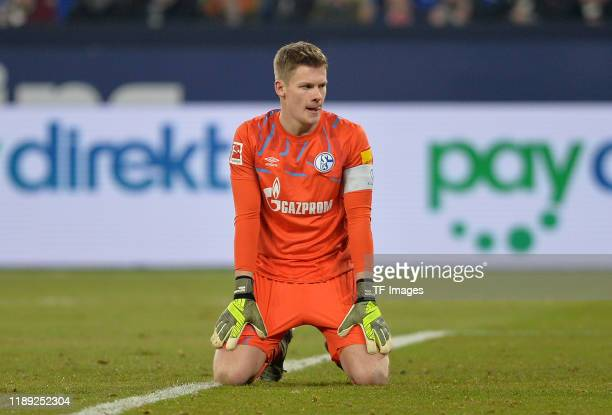 Goalkeeper Alexander Nuebel of FC Schalke 04 looks on during the Bundesliga match between FC Schalke 04 and Eintracht Frankfurt at Veltins-Arena on...