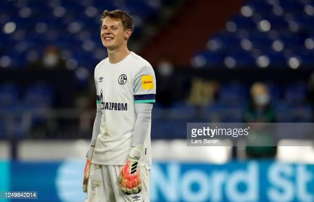 Goalkeeper Alexander Nuebel of Schalke is seen during the Bundesliga match between FC Schalke 04 and Bayer 04 Leverkusen at Veltins-Arena on June 14,...