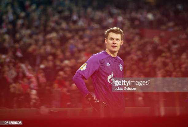 Goalkeeper Alexander Nuebel of Schalke looks on during penalty shoot out during the DFB Cup match between 1 FC Koeln and FC Schalke 04 at...