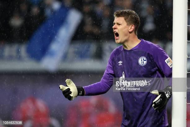 Goalkeeper Alexander Nuebel of Schalke reacts during the 1Bundesliga match between RB Leipzig and FC Schalke 04 at Red Bull Arena on October 28 2018...