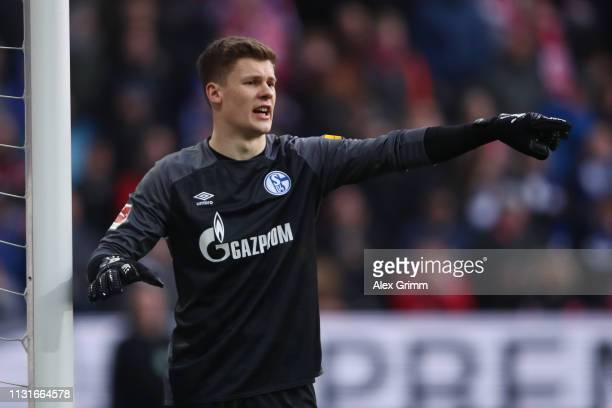 Goalkeeper Alexander Nuebel of Schalke reacts during the Bundesliga match between 1 FSV Mainz 05 and FC Schalke 04 at Opel Arena on February 23 2019...