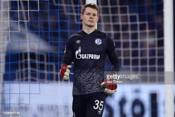 Goalkeeper Alexander Nuebel of Schalke reacts during the Bundesliga match between FC Schalke 04 and RB Leipzig at Veltins-Arena on February 22, 2020...