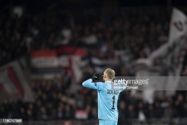 Goalkeeper Alexander Schlager reacts during the UEFA Europa League group D match between LASK and PSV Eindhoven at Linzer Stadion on November 7, 2019...